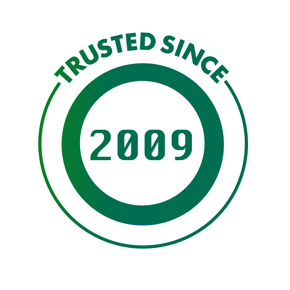 a dark green trusted sign - Solutions Pest Control has been trusted by Metro Vancouver residents since 2009