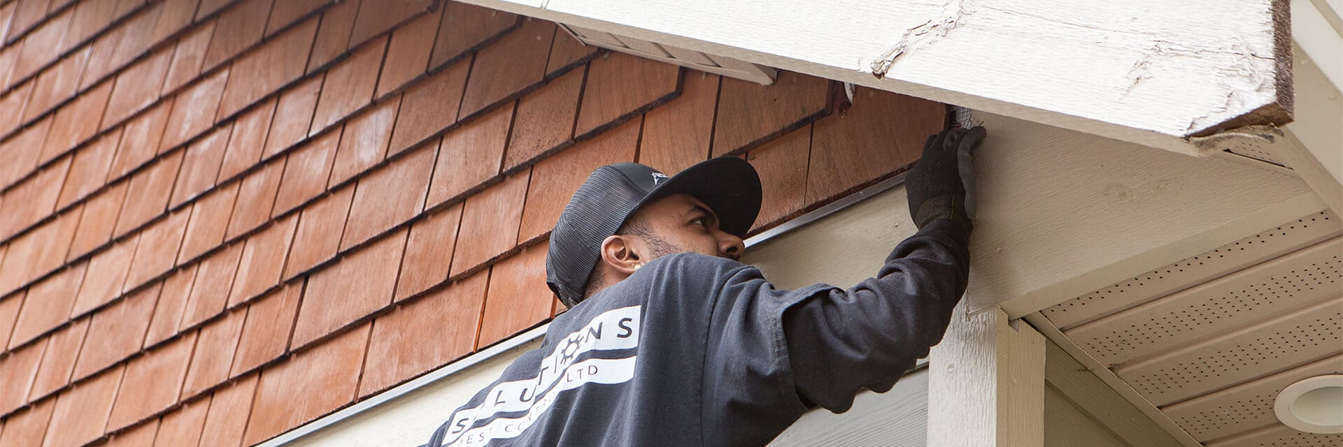 Solutions Pest Control service tech inspecting roof line